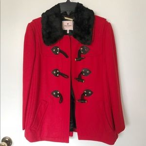NWT Juicy Couture Red Wool Pea Coat Military